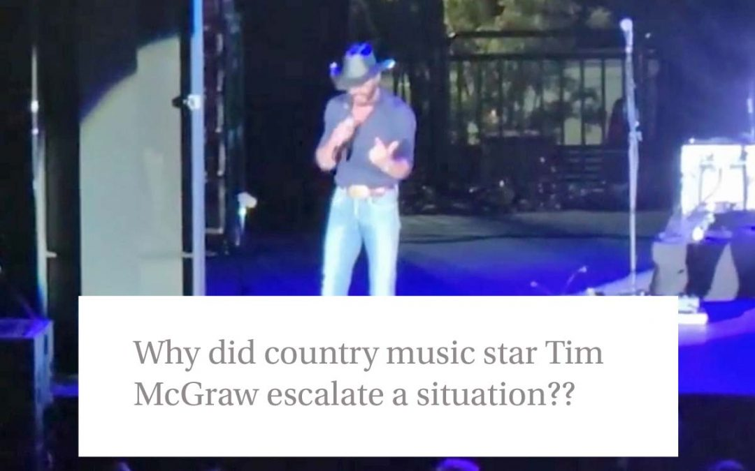 Why did country music star Tim McGraw escalate a situation?